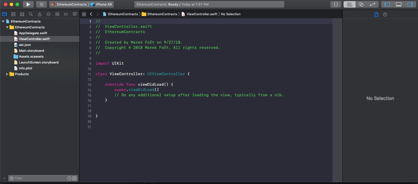 screenshot: Download our example contract abi.json file to your Xcode project