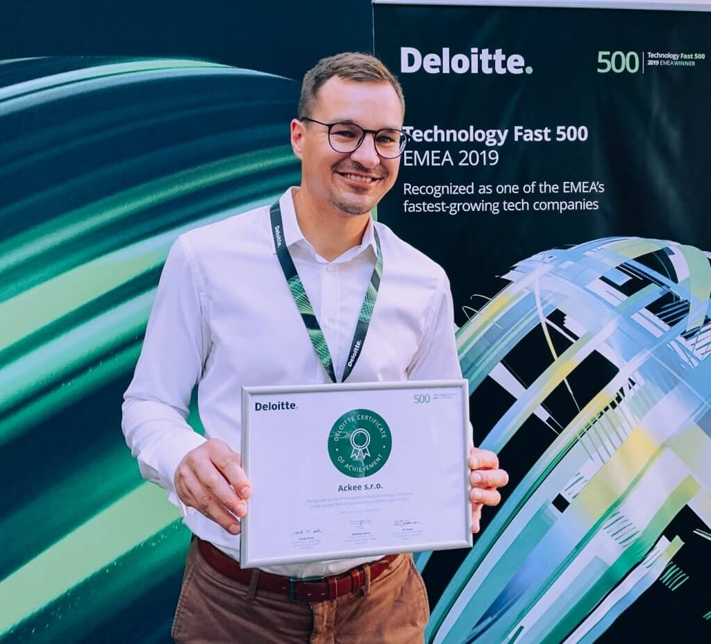 Martin Půlpitel with the Deloitte Technology Fast 500 EMEA award