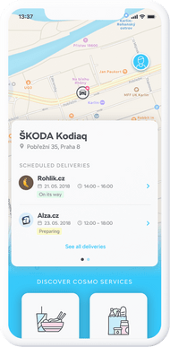 Car trunk delivery app for Škoda Auto, UX/UI, 2018